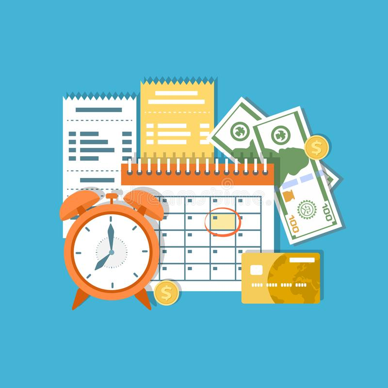 Tax payment day Concept. Income federal taxation, monthly installment, time period. Financial calendar, invoices. Payday icon. royalty free illustration