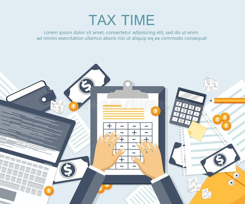 Tax payment. Government, state taxes. Data analysis, paperwork, financial research, report. Businessman calculation tax return. Flat design. Tax form vector royalty free illustration