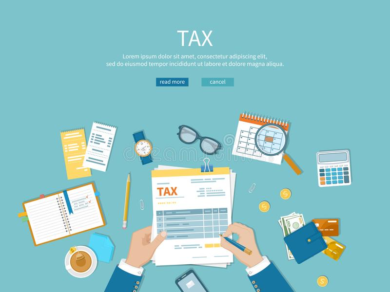 Tax payment. Man fills the tax form and counts. Financial calendar, money, invoices, bills on the table. Vector Top view stock illustration