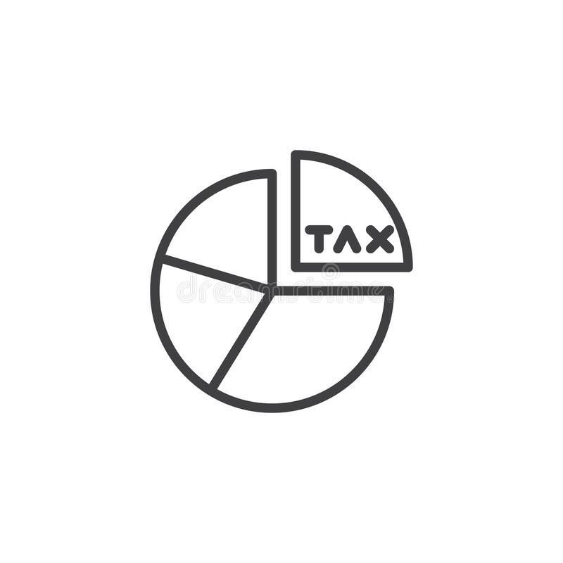 Tax pie chart outline icon vector illustration
