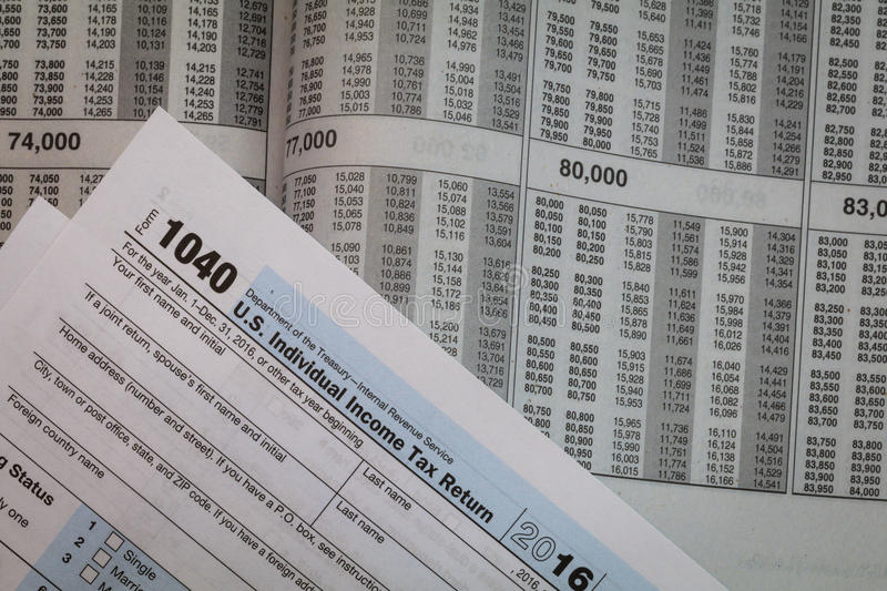 Tax preparation forms and tax tables. Tax preparation forms and tax booklet US 1040 Tax form royalty free stock photography