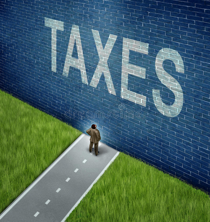 Tax Problems. Business and financial concept as a businessman on a road to success blocked by a brick wall with the word taxes painted on the surface as a vector illustration