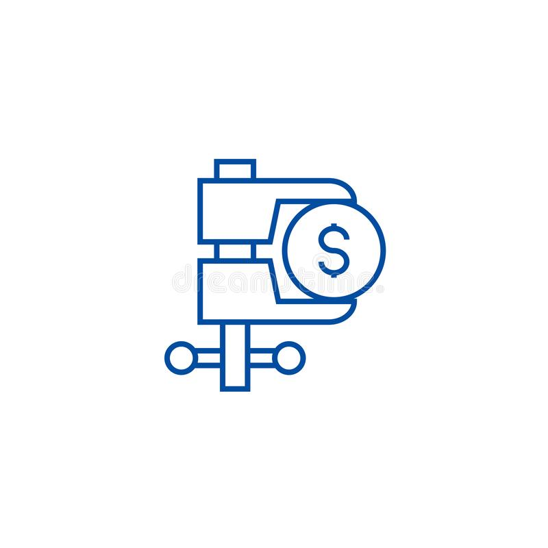 Tax reduction line icon concept. Tax reduction flat  vector symbol, sign, outline illustration. vector illustration