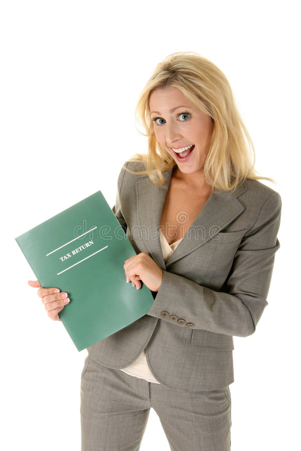 Tax Refund!. Beautiful blonde woman is happy and excited about getting a tax refund! (or anything other text you may want to add royalty free stock images