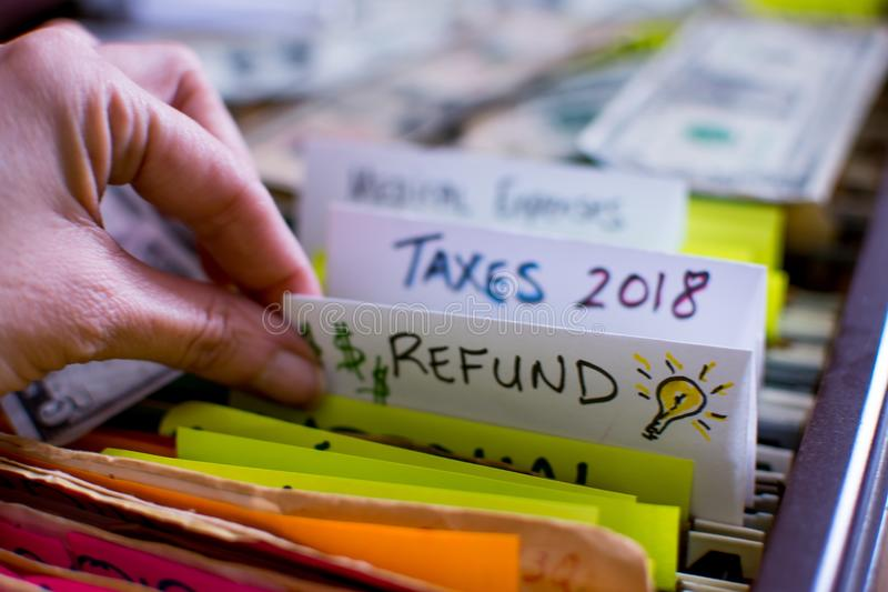 Tax refund and doing personal income taxes 2018 stock images