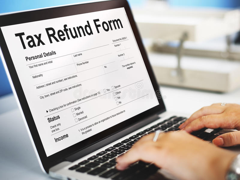 Tax Refund Form Document Graphic Concept royalty free stock images