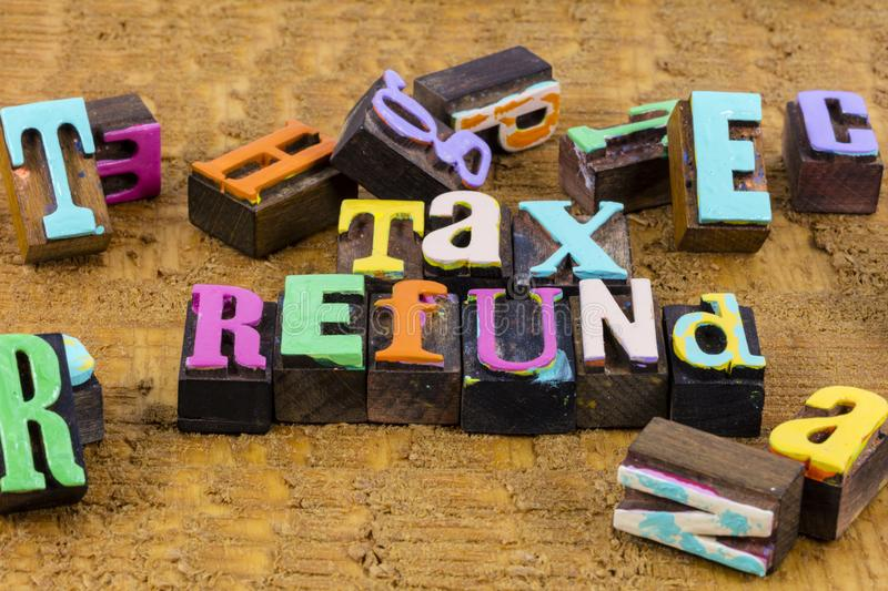 Tax refund income federal state earnings investment revenue stock images