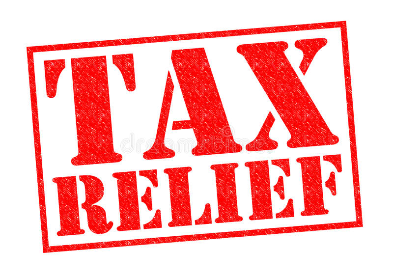 TAX RELIEF. Red Rubber Stamp over a white background stock illustration