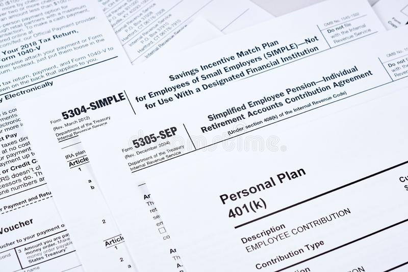 Tax reporting and retirement plan stock photo
