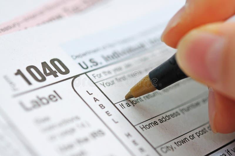 Tax return. Preparing a us tax return royalty free stock images