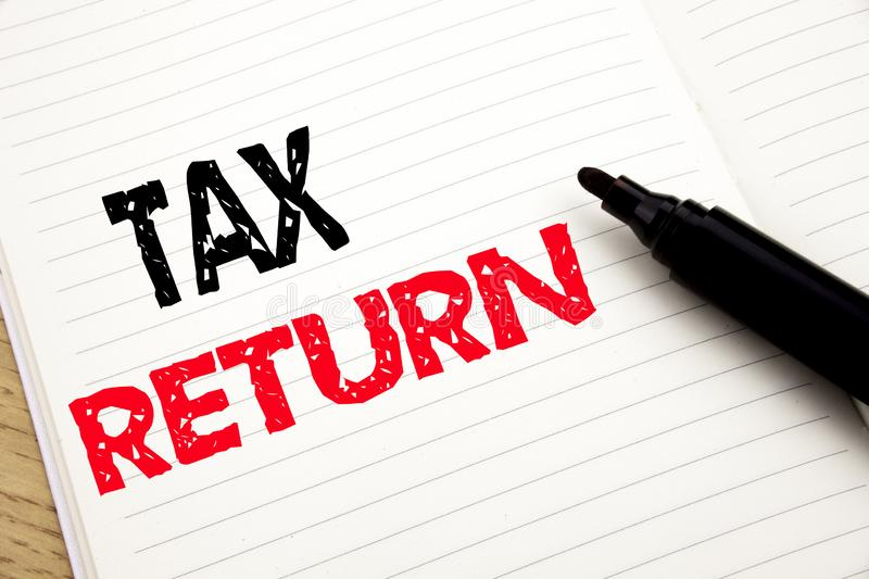 Tax Return. Business concept for Accounting Money Return written on notebook with copy space on book background with marker pen. Tax Return. Business concept for stock image