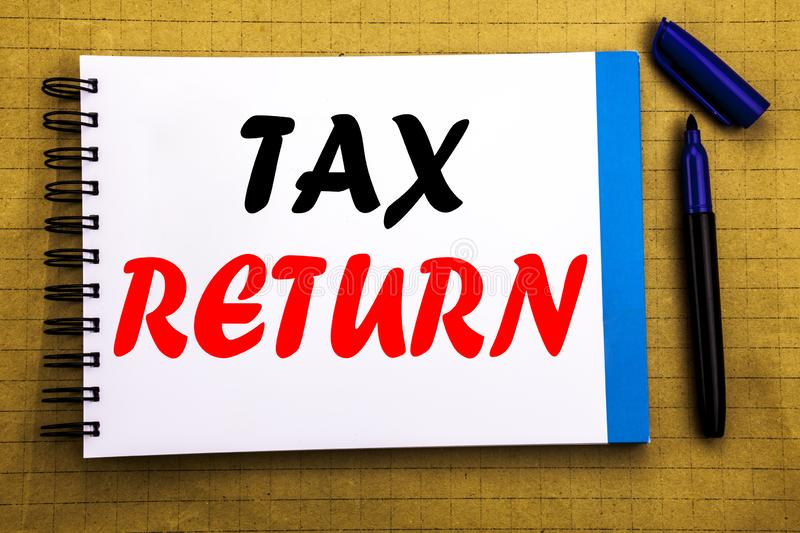 Tax Return. Business concept for Accounting Money Return Written on notepad note paper background with space office view with penc. Tax Return. Business concept royalty free stock photos