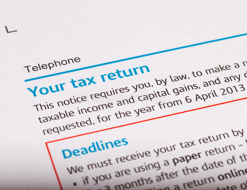 Tax return. Close up shot of a tax return royalty free stock images