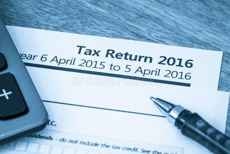 Tax return form 2016. HMRC income tax return form 2016 for UK stock photo