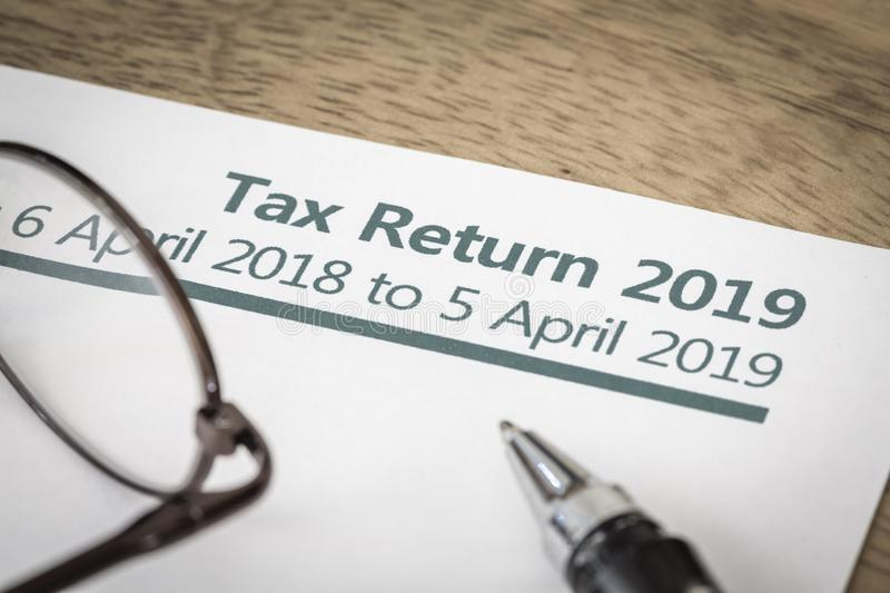 Tax return form UK 2019 royalty free stock images