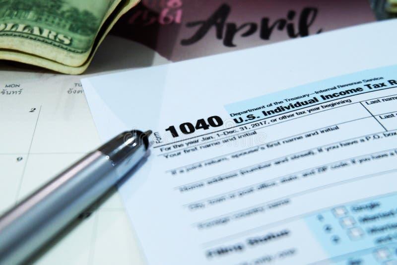 Tax Season: 1040 U.S. Individual Income Tax Return Form Horizontal stock images