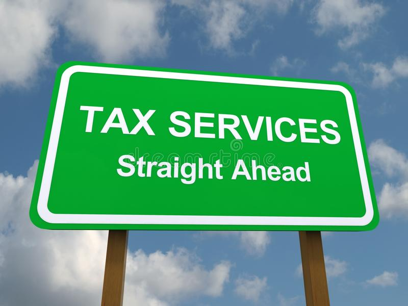Tax services straight ahead. Sign with blue sky and cloudscape background vector illustration
