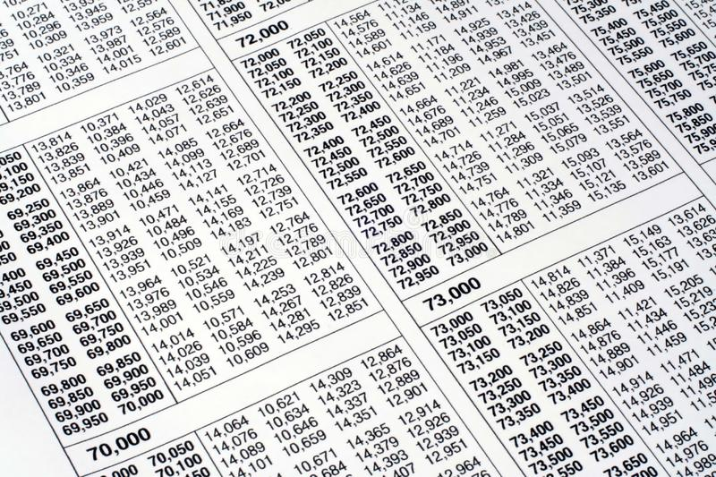 Download Tax Table stock photo. Image of rows, data, table, amount - 1729842