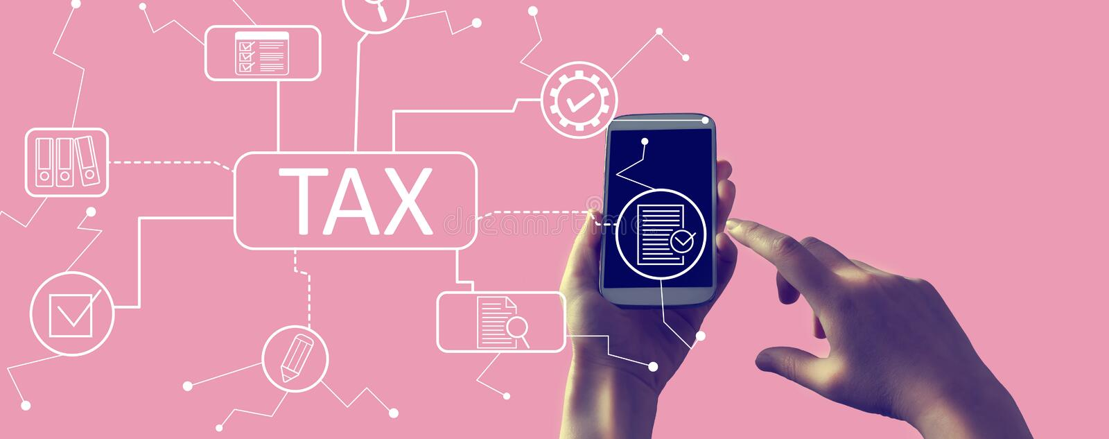Tax theme with smartphone vector illustration