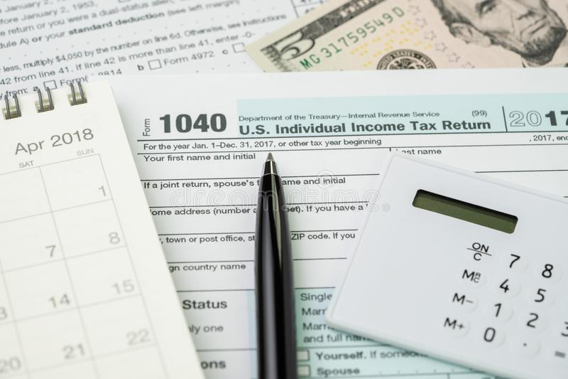 Tax Time In April Concept Pen On 1040 Us Individual Income Tax