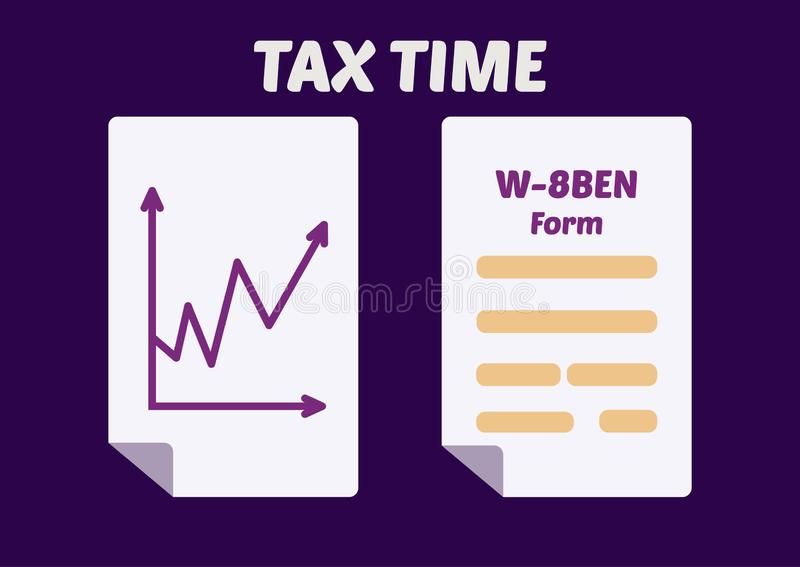 Tax Time. Finance diagram and simplified W-8BEN Tax Form. Vector illustration vector illustration