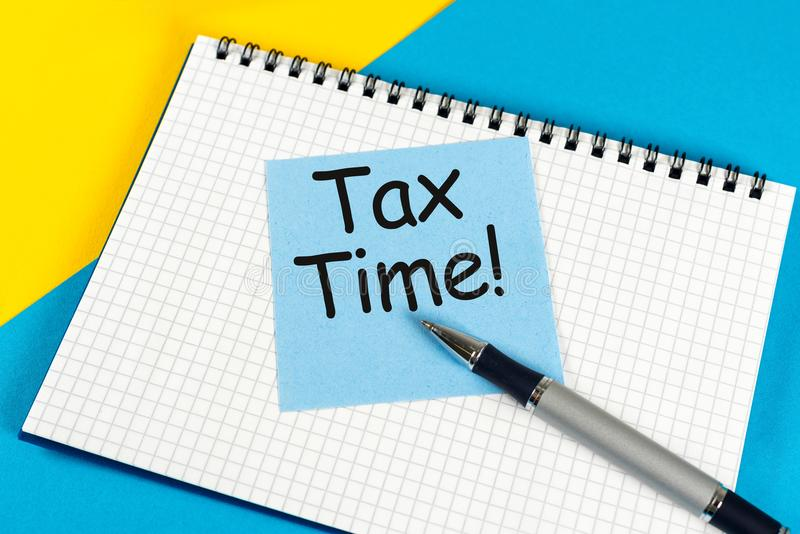 Tax time, reminder at manager or accauntant workplace. Tax planning and budgeting concept.  stock images