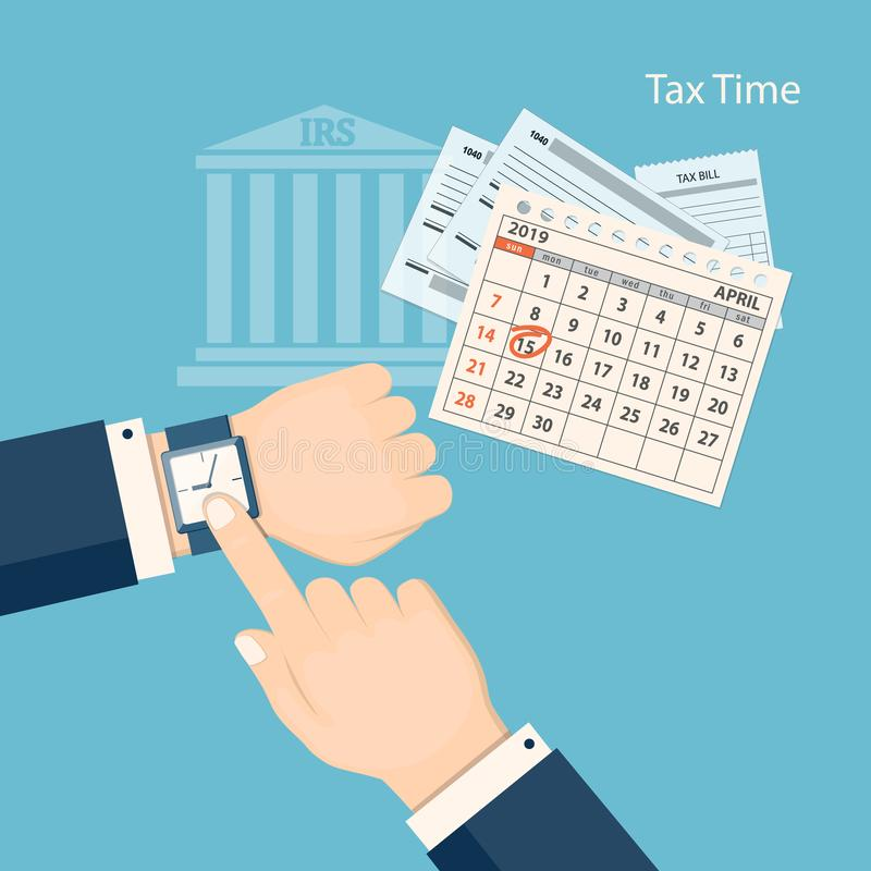 Free Tax Time With Showing Finger At The Watch Stock Images - 127483264