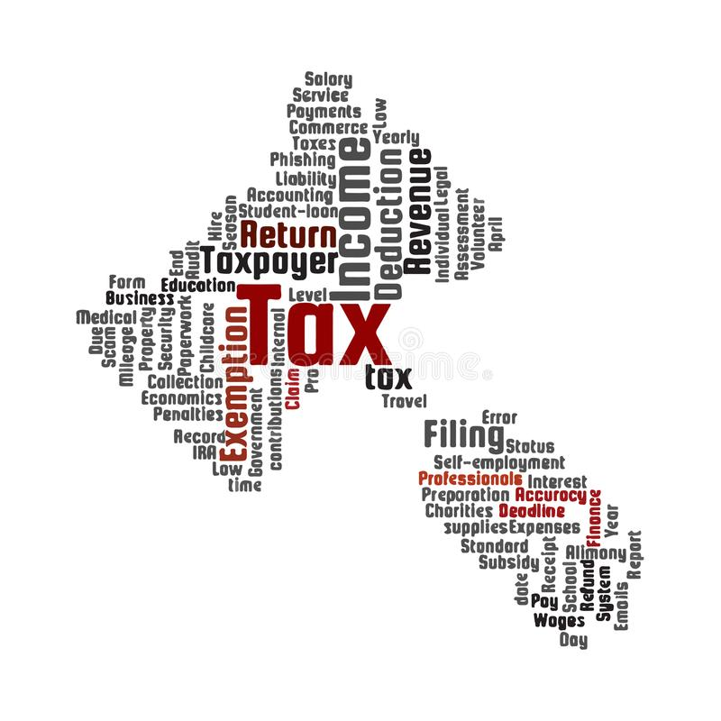 Tax topic word cloud. Gavel shape. royalty free illustration
