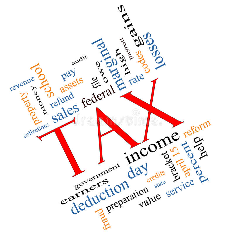 Tax Word Cloud Concept angled. Tax Word Cloud Tax Word Cloud Concept angled with great terms such as rate, federal, state, income, codes and more.Concept angled stock illustration