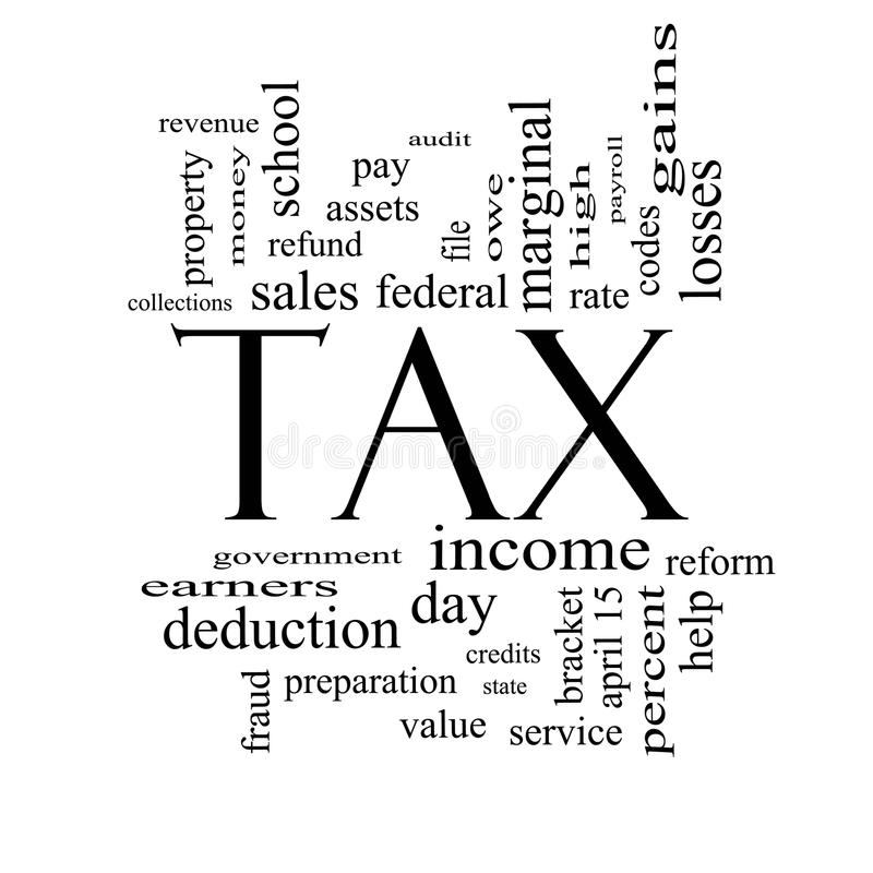 Tax Word Cloud Concept in Black and White. With great terms such as rate, federal, state, income, codes and more stock illustration