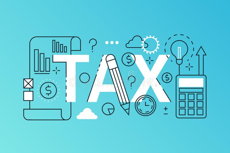 Tax word trendy composition banner. Outline stroke tax payments, financial law consulting, refund, business income vector illustration