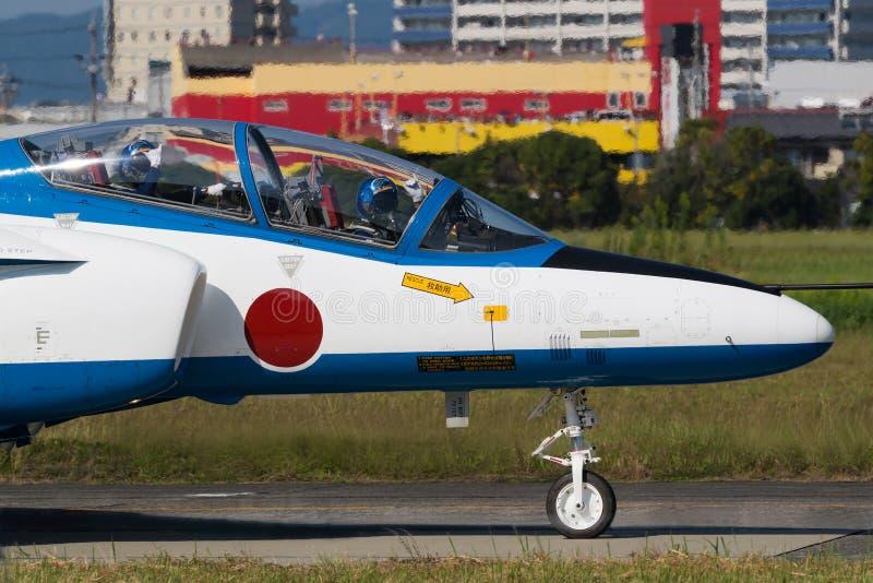Taxação para voos da demonstração do impulso azul foto de stock royalty free