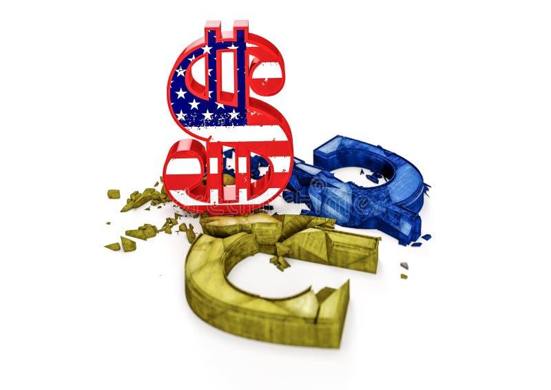 A taxa de câmbio de hryvnia ucraniano é queda ilustração do vetor