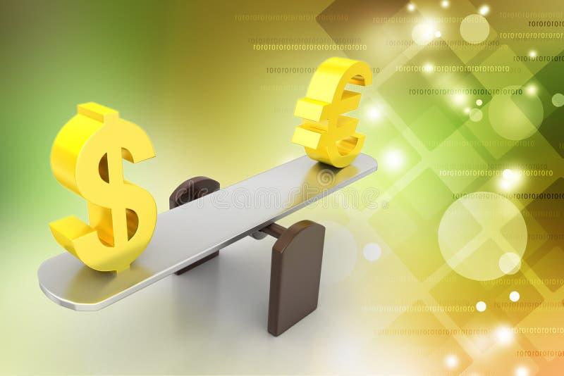 Taxa de câmbio do dinheiro ilustração stock