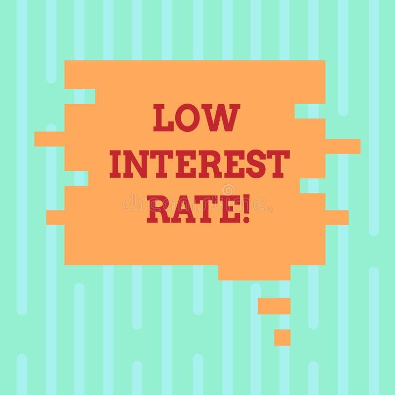 Taxa de juro do texto da escrita da palavra baixa Conceito do negócio para a porcentagem que o banco adiciona cada ano na cor da  ilustração royalty free