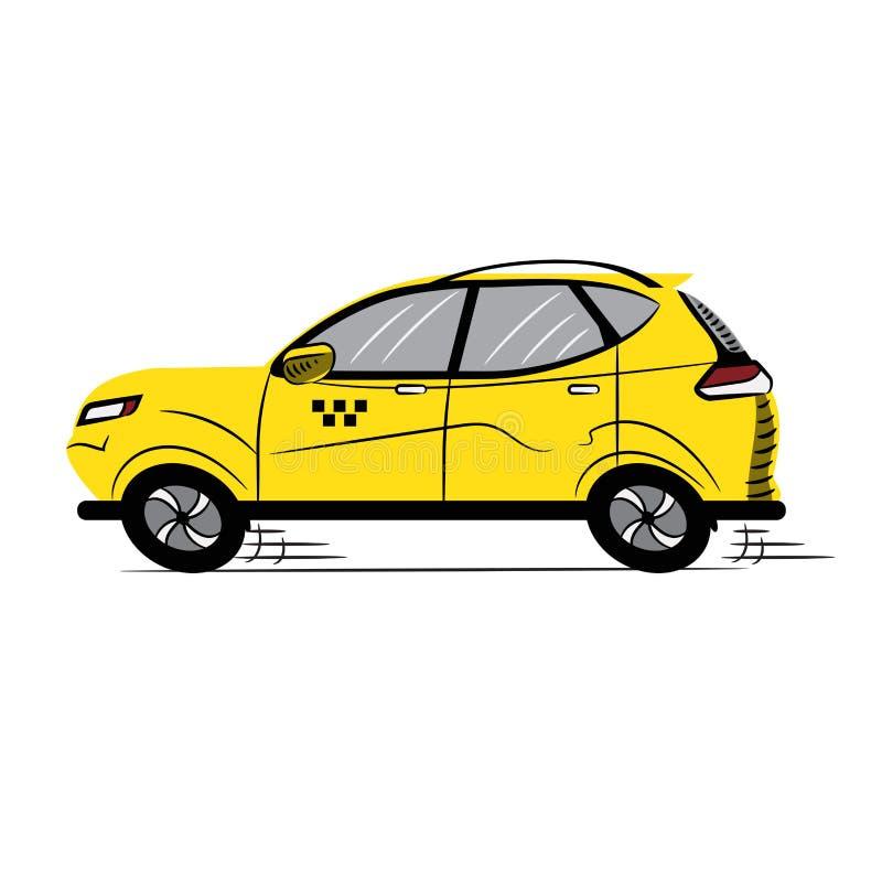 taxa Gul bil symbol skissa symbol Tecken din vektor f?r bruk f?r designillustrationmateriel genomskinligt Isolerad vit royaltyfri illustrationer