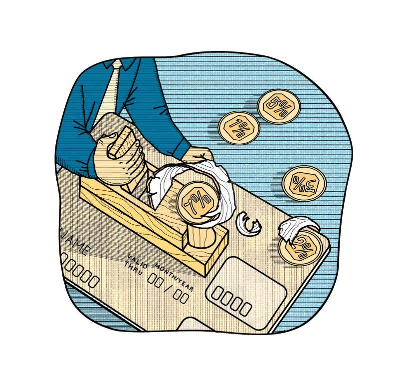 Taxas de juro em cartões de banco Um homem com um plano cortou a renda da porcentagem sob a forma das microplaquetas de um cartão ilustração royalty free