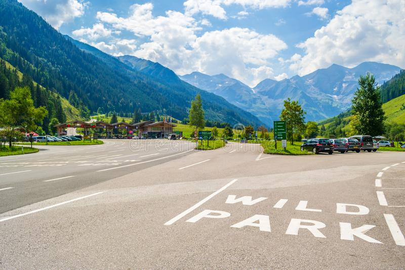 Road markings to Wild & Adventure Park Ferleiten entrance at the very beginning of Grossglockner High Alpine road, before toll. royalty free stock photography