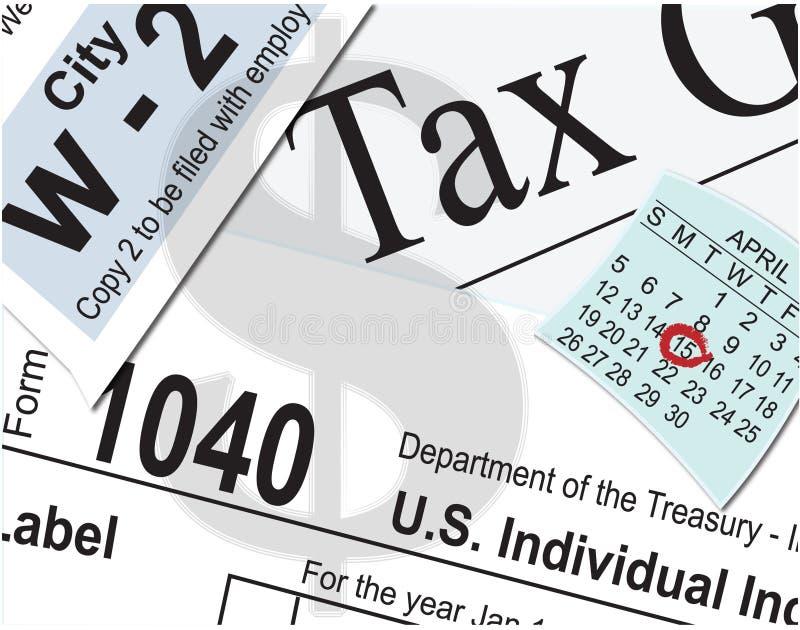 Taxes. Tax paperwork and calendar drawn in Adobe Illustrator