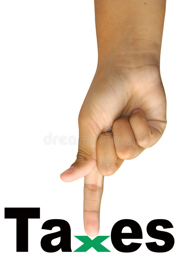 Taxes. Hand with taxes word isolated in white royalty free stock photos
