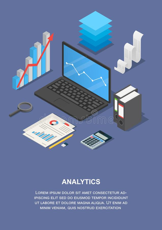 Taxes analytics banner vertical, isometric style. Taxes analytics banner vertical. Isometric illustration of vector taxes analytics banner vertical for web royalty free illustration