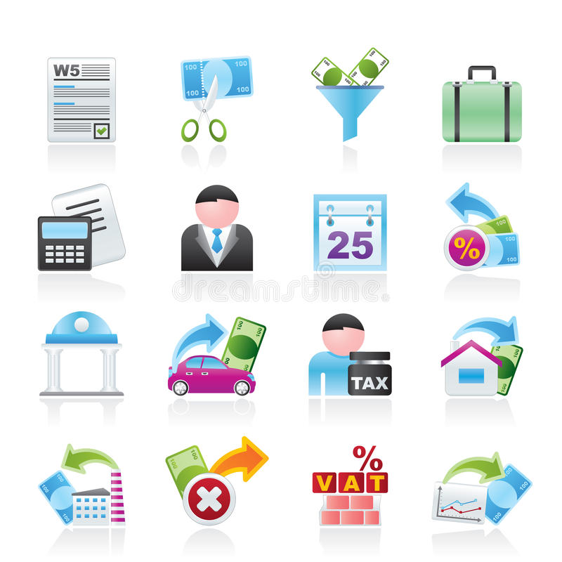 Download Taxes, Business And Finance Icons Stock Vector - Image: 23583713