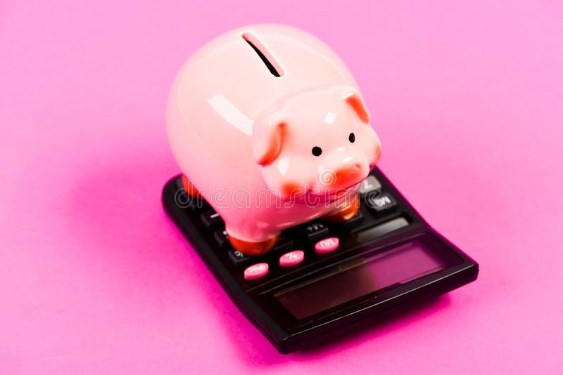 Taxes and charges may vary. Accounting business. Pay taxes. Taxes and fees concept. Tax savings. Piggy bank money royalty free stock photo