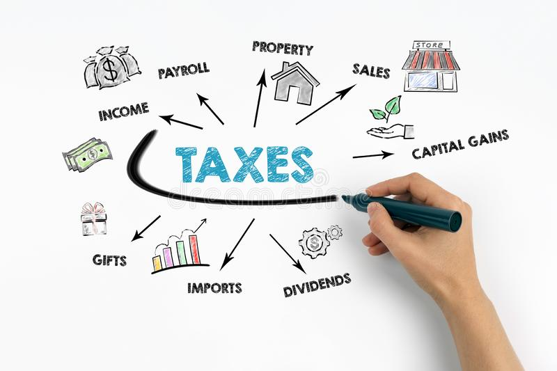 Taxes Concept. Chart with keywords and icons.  stock image