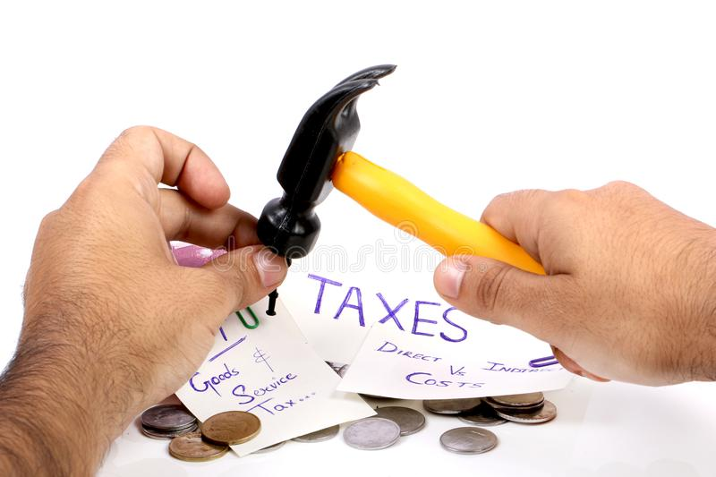 Taxes. Concept shot of gst taxes on white background royalty free stock photos