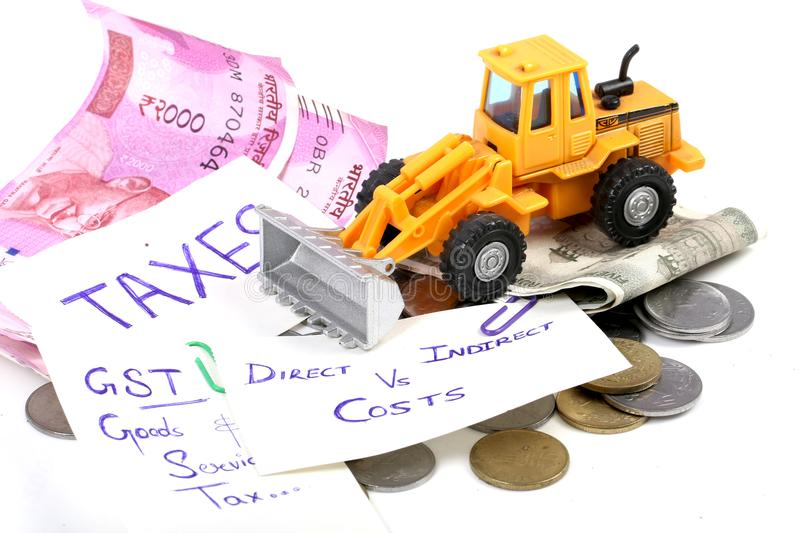 Taxes. Concept shot of gst taxes on white background stock image