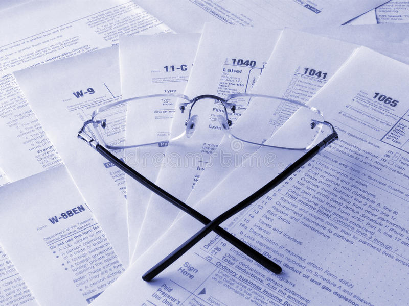 Taxes forms stock image