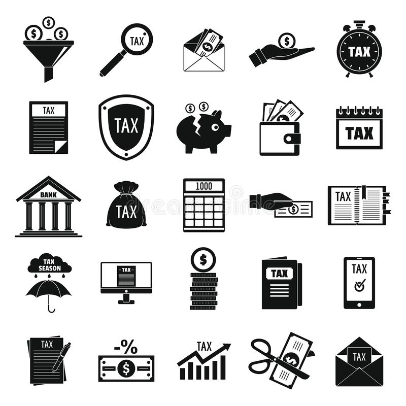Taxes Icons Set, Simple Style Stock Illustration