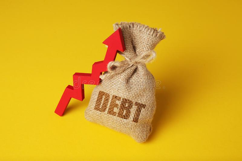 Taxes and interest on debt payments. Overdue payments, penalties. Red arrow up.  stock photos