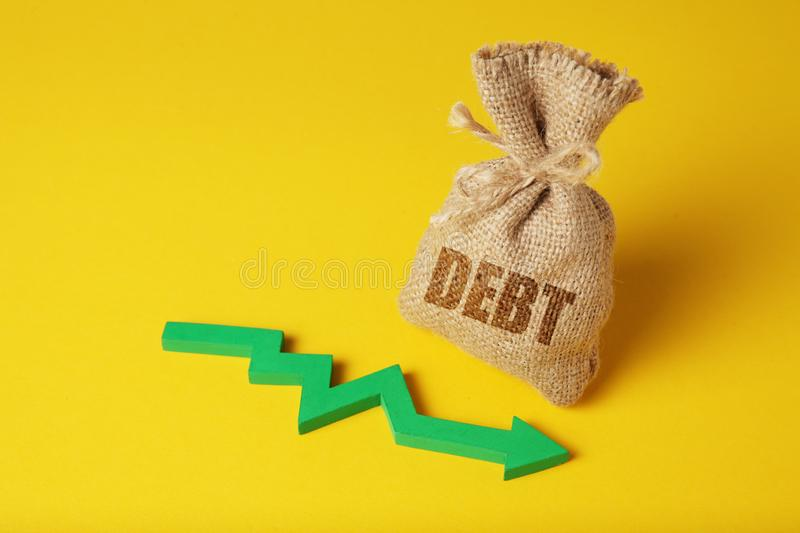 Taxes and interest on debt payments. Overdue payments, penalties. Taxes and interest on debt payments. Overdue payments, penalties. Green arrow royalty free stock photos